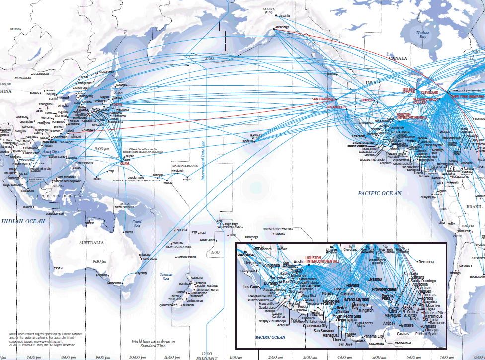United Airlines route map - Asia Pacific